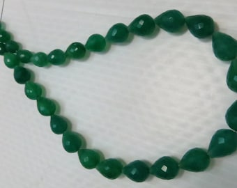 14 Inche 30 pieces  Green Color Chalcedony Faceted  Drop Shape Supper Quality Size 10X14 mm To 8X10mm Approx
