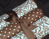 Large Blue and Brown Damask Receiving Blanket Set of 3