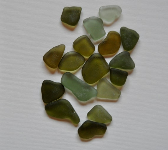 Scottish Sea Glass, 18 Sea Gems in Olive Green Shades, similar size.,