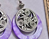 Purple Mother Of Pearl and Pewter Earrings