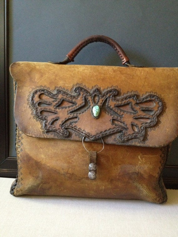 Vintage Custom Made Leather Briefcase With Silver & Turquoise