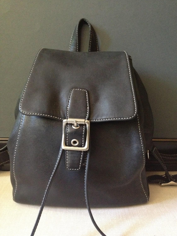 vtg coach black leather backpack book bag by jansvintagestuff