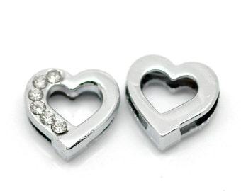 """3 Rhinestone Heart Pendant Charm Connector - Silver Finish - Crystal Rhinestone - 12mm (4/8""""x 4/8"""")"""