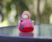 Needle Felted Standing Doll, Felted Princess, Pink, Home Decoration