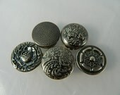 Button Covers Antiqued Silver Tone Very Ornate, set of 5