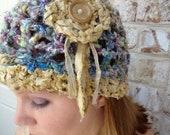 Crochet Boho Hat - Handspun Art Yarn - Cloche Hat