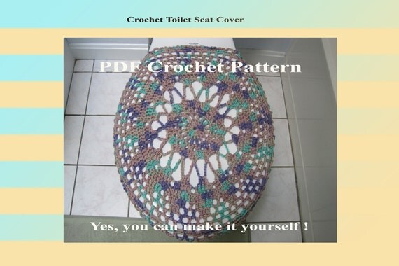 Items similar to crochet pattern toilet seat cover for both standard and elongated toilet - Elongated toilet seat covers in some stunning patterns ...