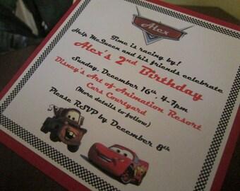 Disney Cars Themed Birthday Invitation