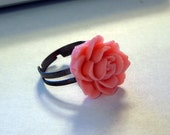 Peony flower cabochon adjustable Ring size 4, 5, 6, 7