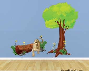 Jungle wall Decals, Tree and Leopard Jungle Fabric Wall Decal Set
