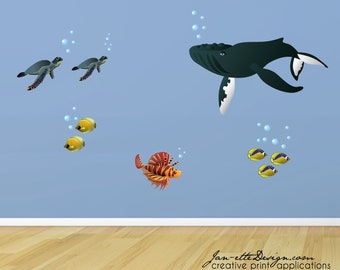 Kids Wall Decals,Whale Wall Decal, Under the Sea Removable and Repositionable Fabric Wall Decals