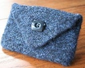 blue wool felted coin cozy purse/pouch/wallet/ipod