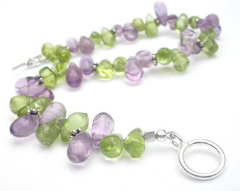 Natural Gemstone Peridot - Natural Gemstone Amethyst - 925 Sterling Silver Bracelet