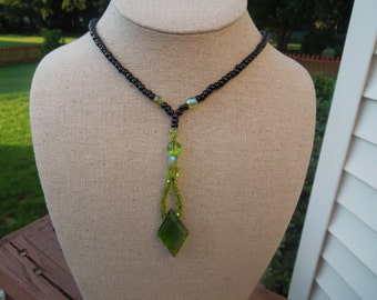 Vintage Glass Necklace, Flexible, Black and Green Glass Beads, Excellent Condition
