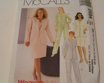 Mccalls Pattern 2594 Womenstyle Lined Jacket Top Pants Skirt