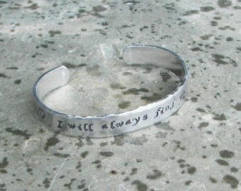 Once Upon A Time Hand Stamped  I will always find you Cuff Bracelet with Heart Stamp