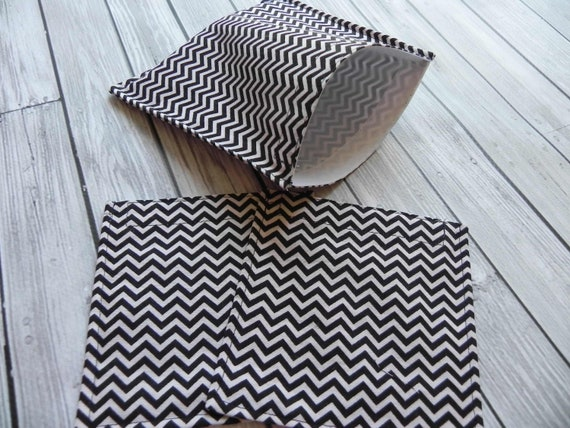 Set of 3 Reusable Lunch Bags - Chevron