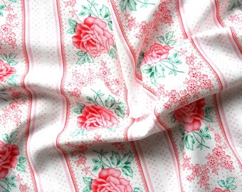 pink floral vintage fabric antique french fabric pink roses fabric  patchwork fabric  quilting fabric pink fabric 94