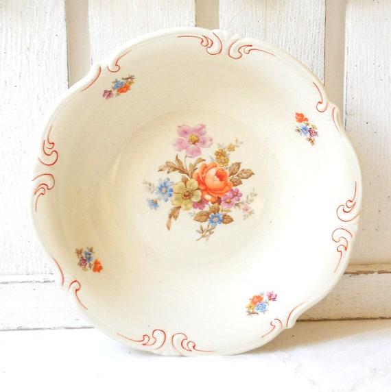 vintage porcelain bowl, german porcelain, roses decor, white porcelain bowl, serving dish, shabby chic