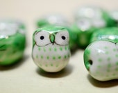 10 Pcs Porcelain Owl Beads. Green Color Hand painted Porcelain Bead 17mm.