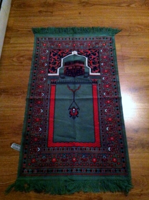 Middle Eastern Green, Red, and White Mosque Woven Prayer Mat From Iraq War