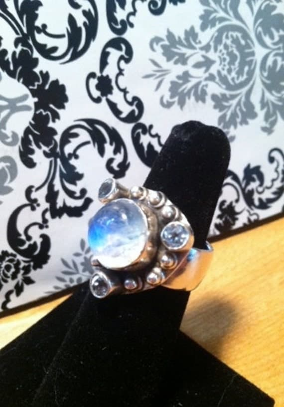 Vintage Rainbow Moonstone and Blue Topaz Gypsy Sorceress Fortune Teller's Triquetra Ring