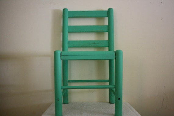 Rustic Reloved Aqua Child's Chair