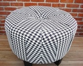 25'' Black and White Houndstooth Ottoman