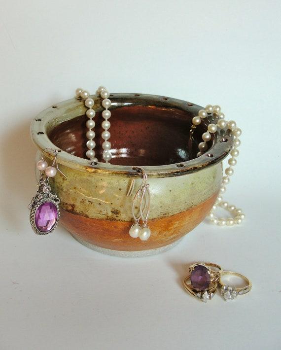 Jewelry Bowl, Earring Bowl, Ceramic Stoneware, Rust, Tan, Green ,OOAK, Ready to ship
