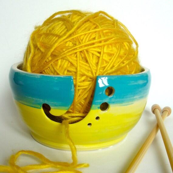Blue ,Yellow,Yarn Bowl,Yarn Holder, Needle Holder, Ceramic Stoneware, Pottery, Gift under 40 dollars