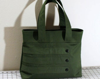 Medium Tote Bag with Decorative Straps in Olive Green
