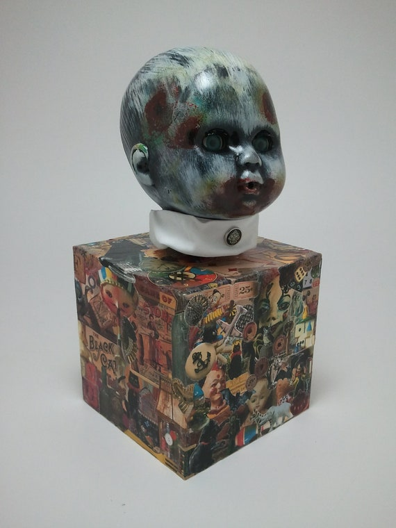 Original OOAK Oscar Macabre Altered Doll Decoupage Horror Zombie Doll Music Box Rockabye Baby