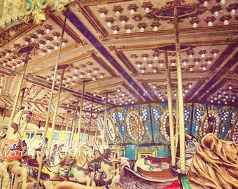 Carousel Photograph, Seaside NJ,  Nursery Decor, Jersey Shore Ride, Fine Art Photograph 20x30