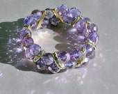 Chunky Crystal Beaded Bracelet, Lilac Purple with Gold Rhinestone Accents