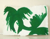Original Small painting Green Palm Trees
