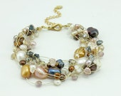 Brown freshwater pearl,crystal hand-knotted silk bracelet.