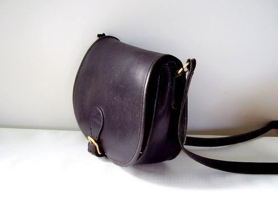 Vintage Coach Saddlebag Black Leather Purse