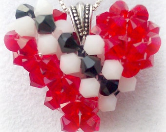 Flag Jewelry Flag of Trinidad and Tobago Red Black White Swarovski Crystal Necklace Heart Charm Pendant