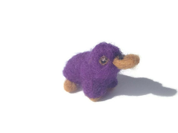 Needle Felted Platypus Plush - Miniature Amigurumi Soft Sculpture (Bellweed)
