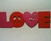 Clock, Desk Clock, Love, Red, Pink, Analog
