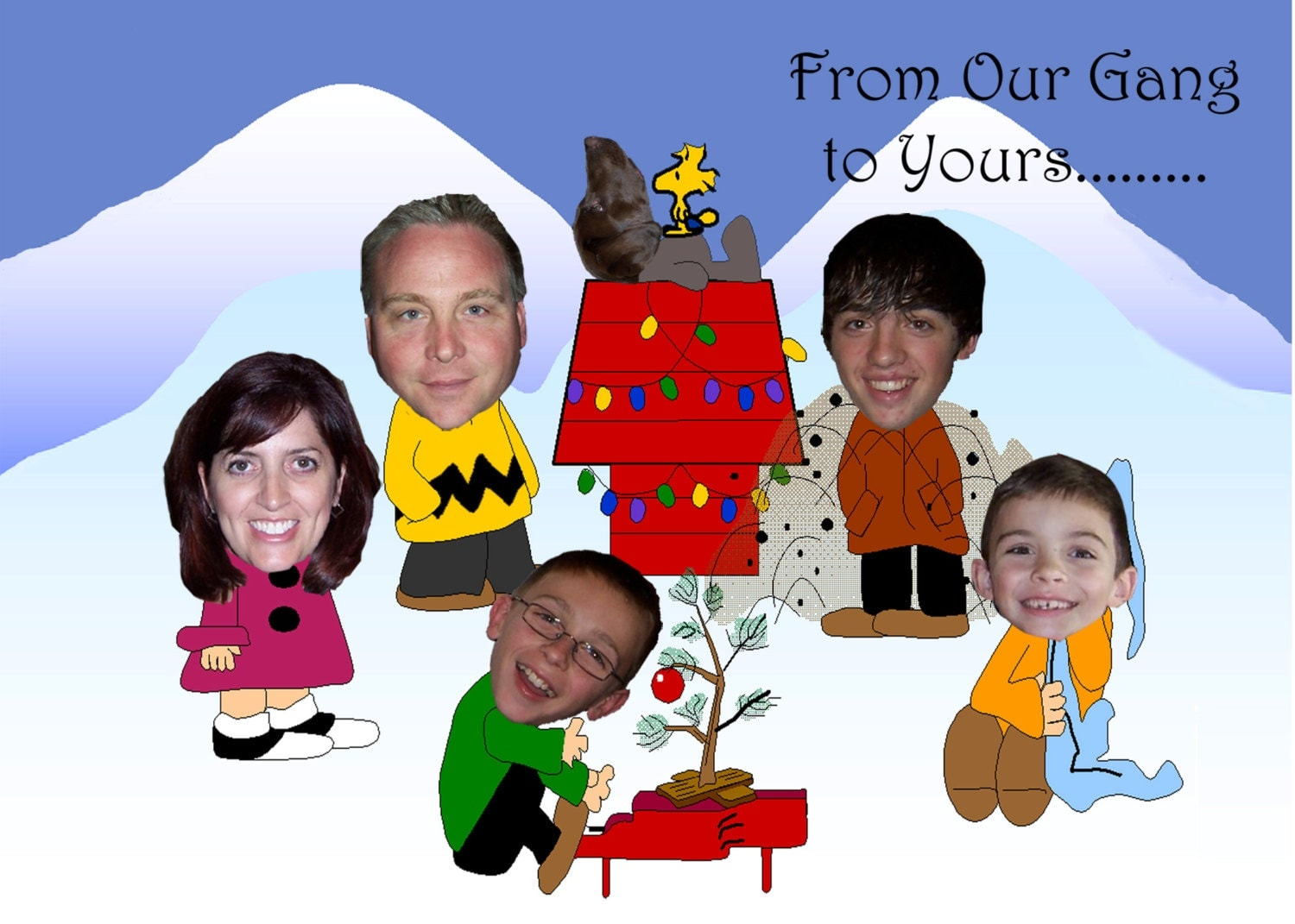 Peanuts Inspired Unique Family Photo Christmas Card