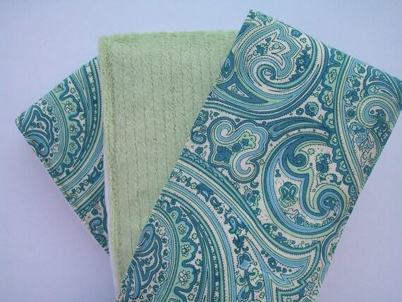 Burp Cloths - Blue Cotton & Sage Green Minky Gender Neutral (Set of 3)
