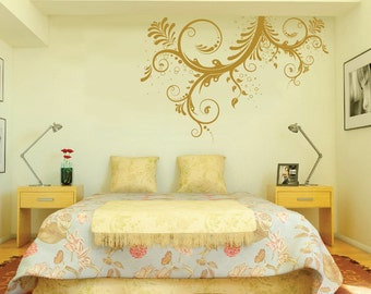 Large Vinyl Wall Art Decal Sticker Floral Ornaments Flower Blossom 1143 (6 feet wide)