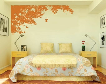 Large Wall Tree Top Nursery Decal Wall Art with Birds 1148 (7 feet wide)
