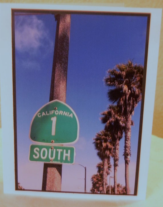 Photo Card, Highway 1 sign, PCH, California, palm trees, beach, Pacific Coast Highway, Road sign