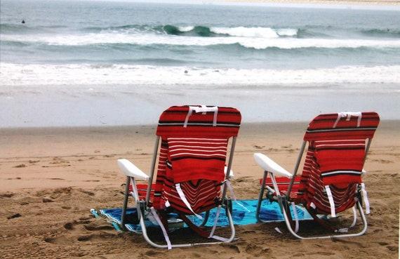 5 x 7 matted photo, beach chairs, Huntington Beach, California, sand, waves