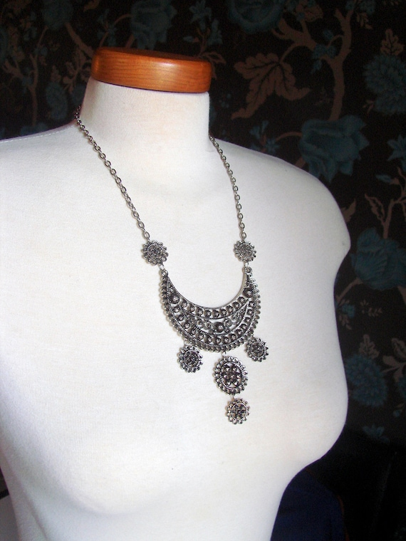 Vintage 1960s Ornate Medallion Egyptian Revival Bib Necklace