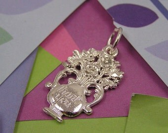 056 Silver Thank You Vase Charm with Flowers