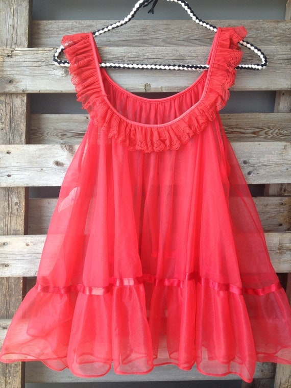 Reserved For Shelby Vintage Red Babydoll Nightie Red
