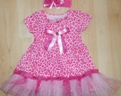 SALE: Toddler Girls Hot PInk/Pink Leopard Print Dress with added Bling Size 18 months